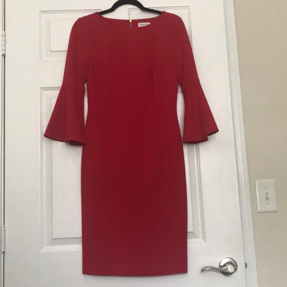 Calvin Klein Dresses & Skirts - Red bell sleeve dress